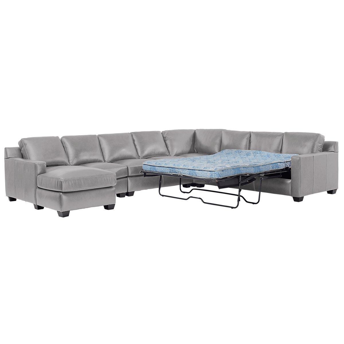 Carson Gray Leather Large Left Chaise Memory Foam Sleeper Sectional ...