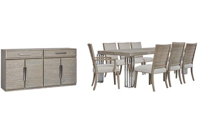 Zephyr Beige Wood Dining Room