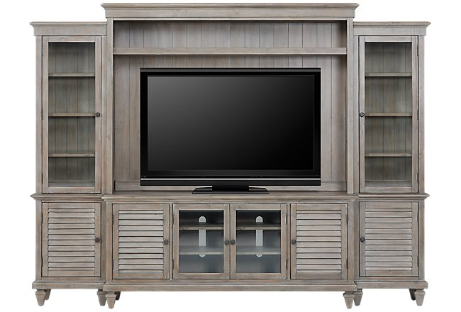 Sonoma Light Tone Wood Entertainment Wall
