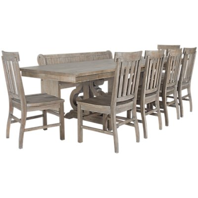 Sonoma Light Tone Wood Table 4 Chairs Bench