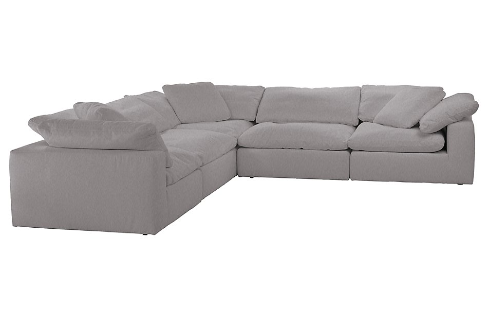 Awesome Nixon Light Gray Fabric 5 Piece Modular Sectional Living Caraccident5 Cool Chair Designs And Ideas Caraccident5Info