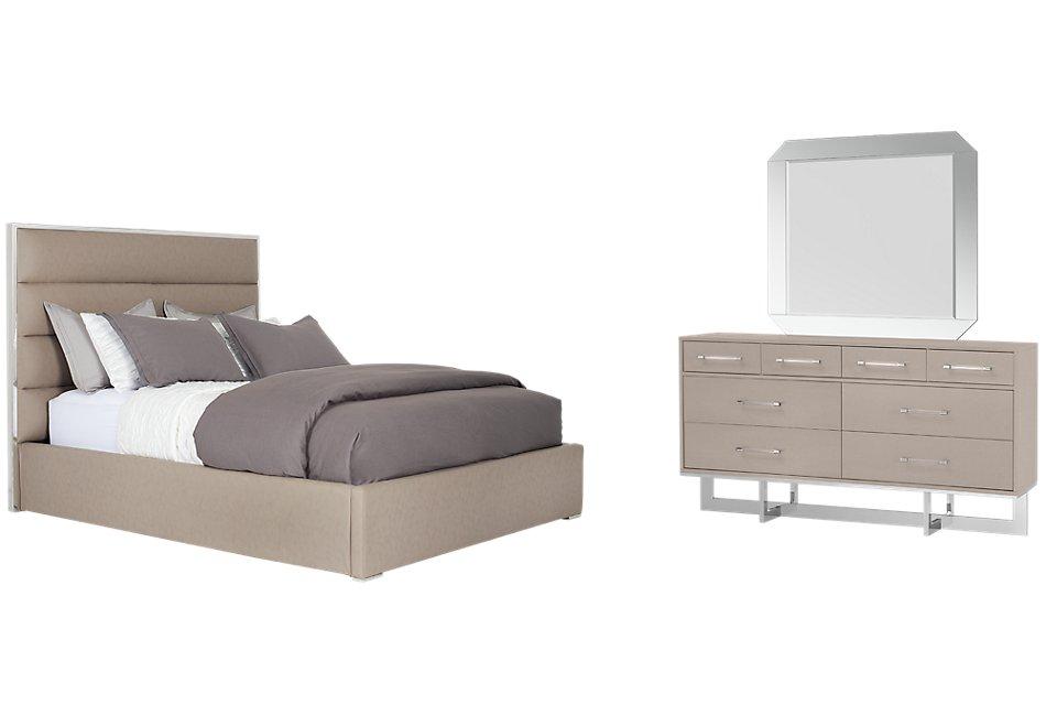 Cortina Champagne Uph Platform Bedroom