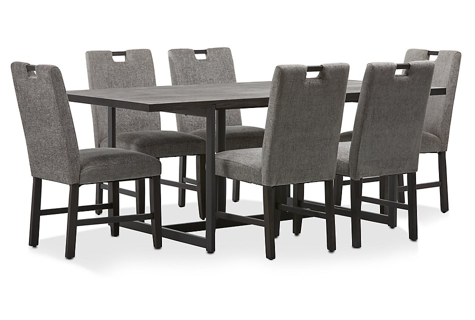 Waverly Dark Tone Rect Table 4 Upholstered Chairs Dining