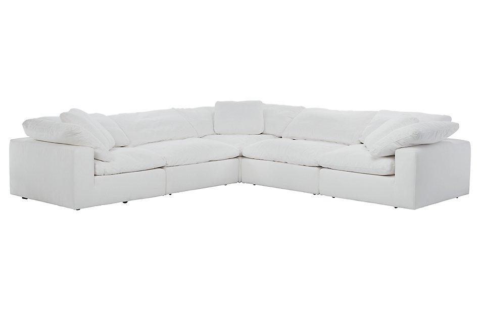 Nixon WHITE FABRIC 5-Piece Modular Sectional   Living Room ...