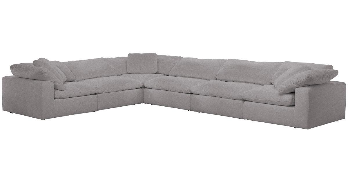Nixon Light Gray Fabric 6 Piece Modular Sectional