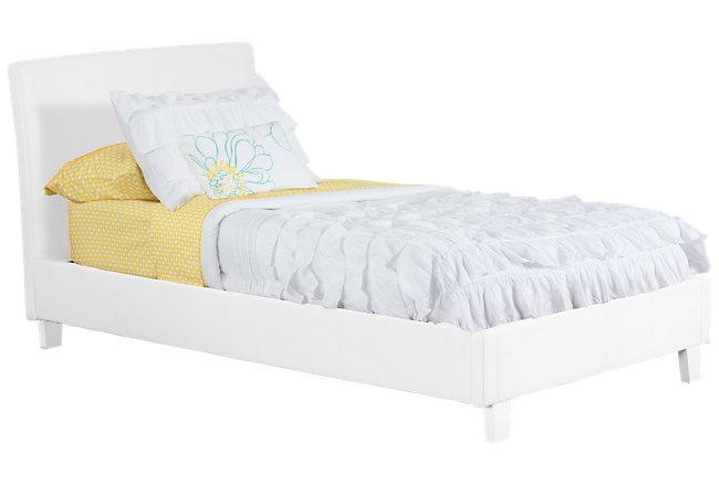 Emma White Upholstered Panel Bed