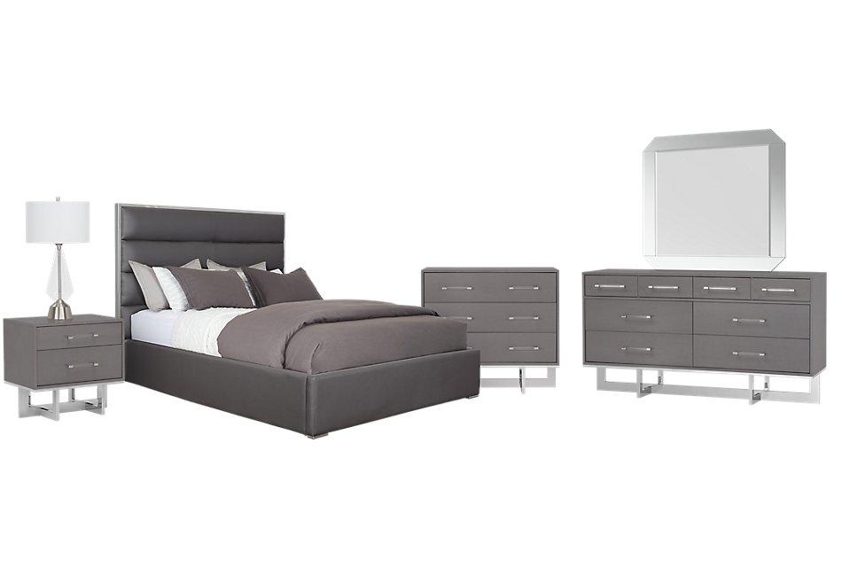 Cortina GRAY UPH Platform Bedroom Package | Bedroom ...