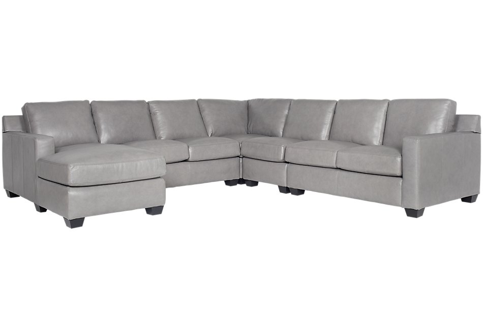 Terrific Carson Gray Leather Large Left Chaise Sectional Living Dailytribune Chair Design For Home Dailytribuneorg