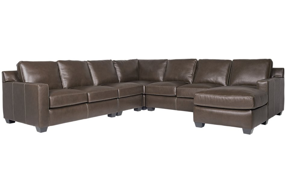 Carson Dark Brown  LEATHER Large Right Chaise Sectional