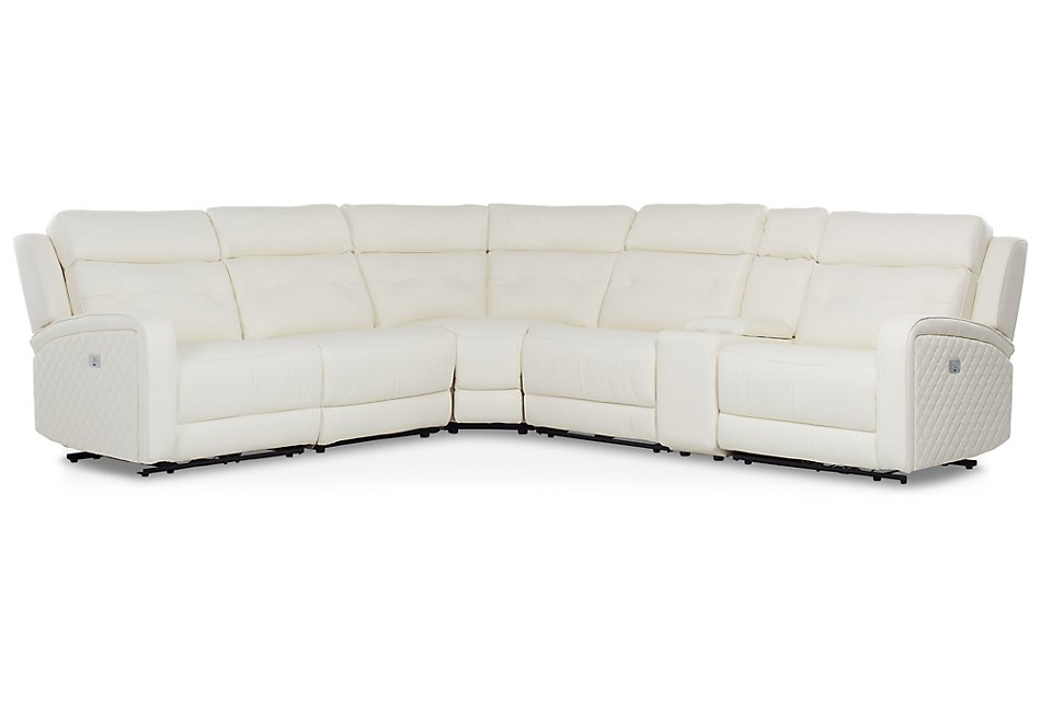 Terrific Mccoy White Micro Two Arm Power Reclining Sectional Living Lamtechconsult Wood Chair Design Ideas Lamtechconsultcom