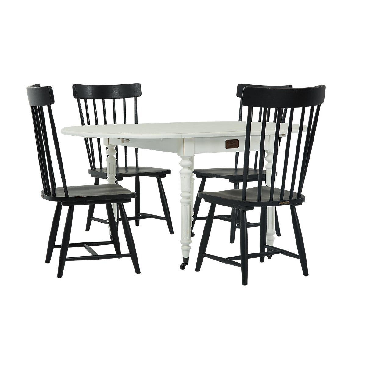 Fresh City Furniture: Windsor Black Table & 4 Wood Chairs LG68