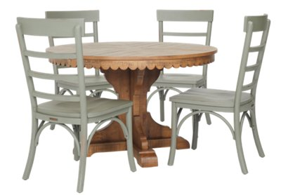Top Tier Green Round Table U0026 4 Slat Chairs | Dining Room   Dining Sets |  City Furniture