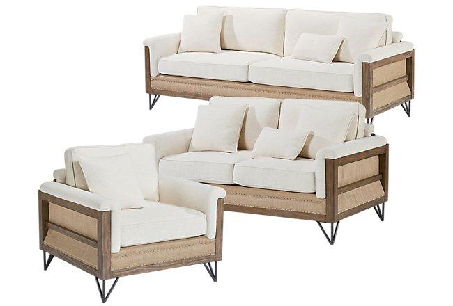 Paradigm Ivory Fabric Living Room