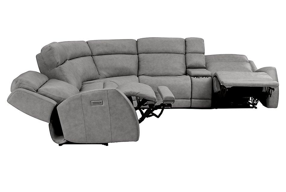 Admirable Rawlings Dark Gray Leather Medium Dual Power 2 Arm Reclining Bralicious Painted Fabric Chair Ideas Braliciousco