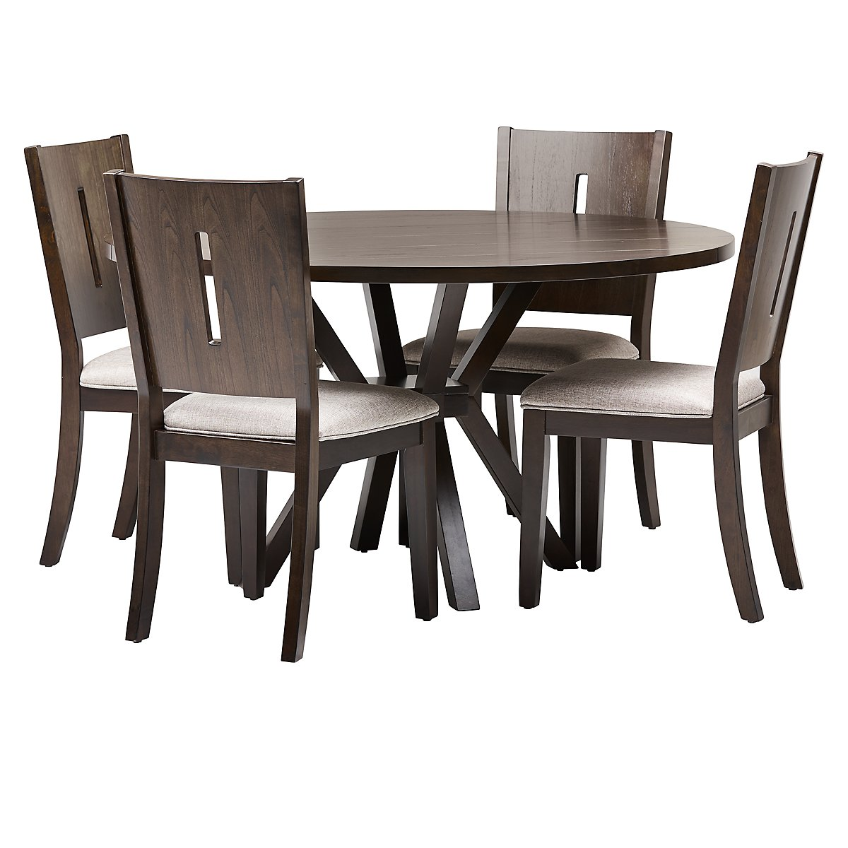 Bayberry Dark Tone Round Table 4 Chairs: Sienna Dark Tone Table & 4 Wood Chairs