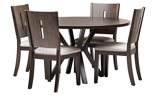Sienna Dark Tone Round Table & 4 Wood Chairs