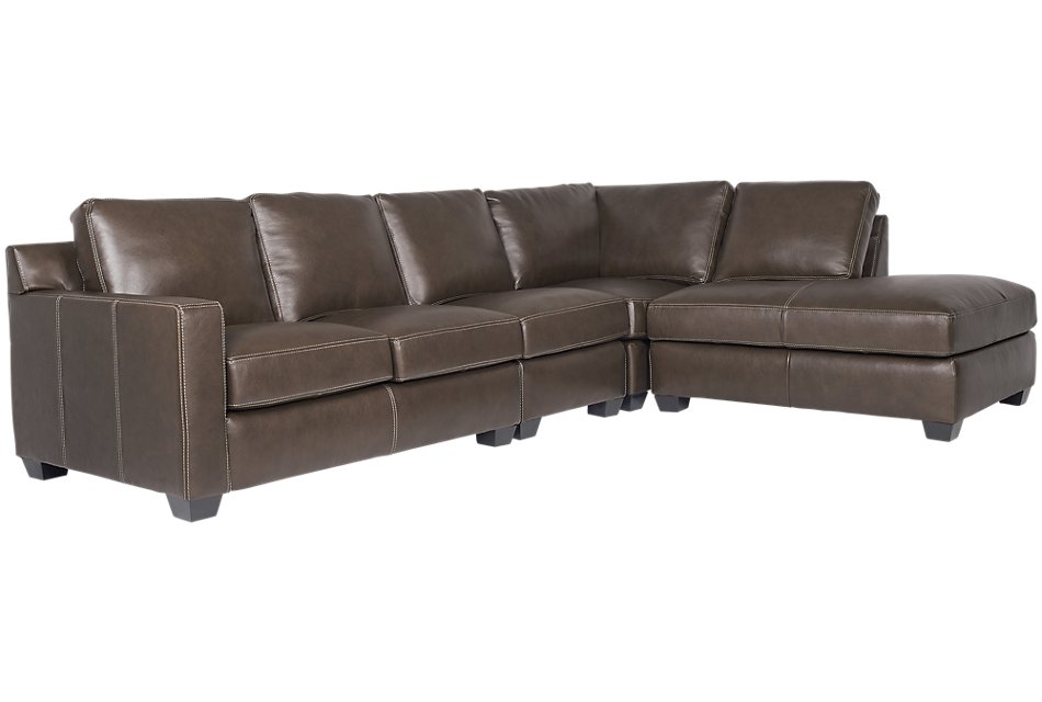 Carson Dark Brown  Leather Sectional