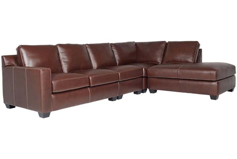 Carson Medium Brown Leather Sectional Living Room