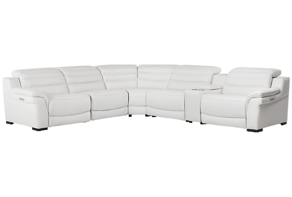 Sentinel WHITE LTHR/VINYL Medium Dual Power Sectional with Music Console