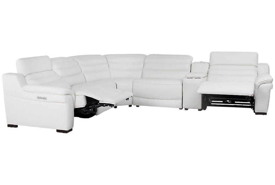Swell Sentinel White Lthr Vinyl Medium Dual Power Sectional With Frankydiablos Diy Chair Ideas Frankydiabloscom