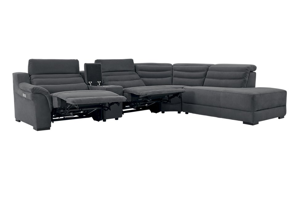 Sentinel Dark Gray  MICRO Medium Dual Power Right Bumper Sectional