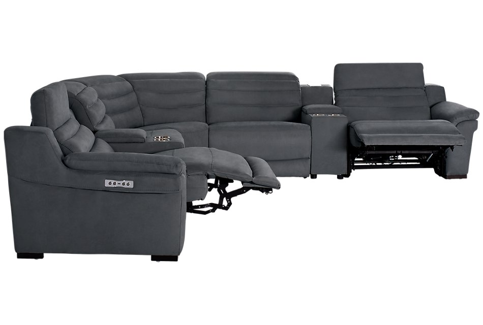 Sentinel Dark Gray  MICRO Large Dual Power Reclining Two-Arm Sectional