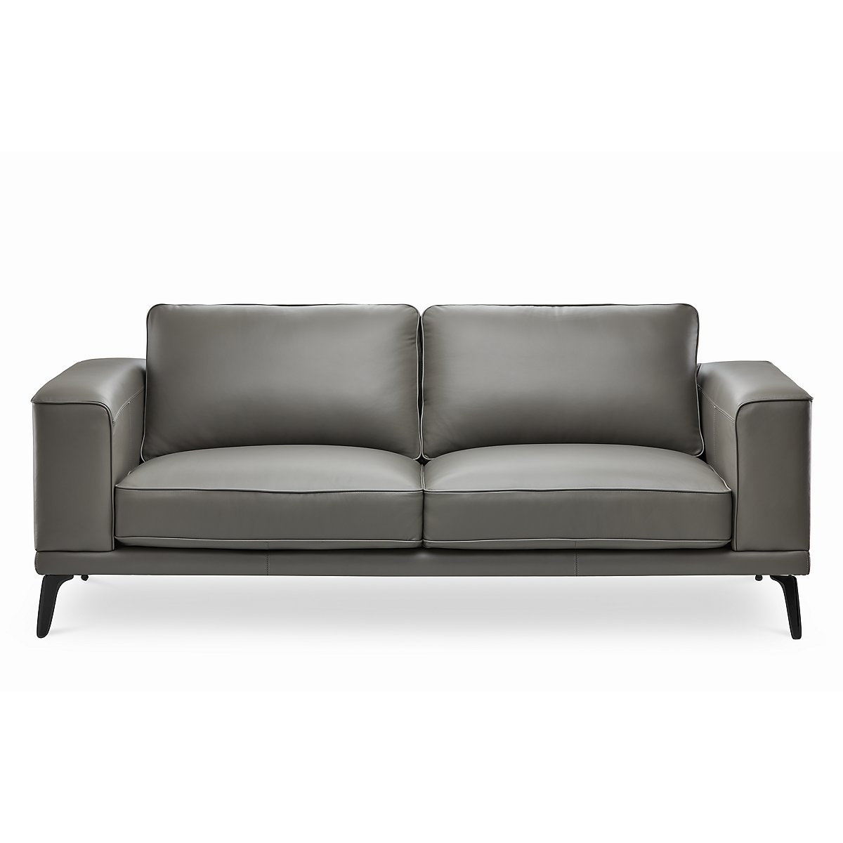 Naples Gray Leather Sofa With Black Legs | Living Room - Sofas | City Furniture