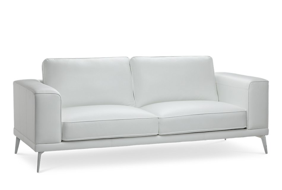 Naples WHITE LEATHER Sofa With Metal Legs | Living Room ...