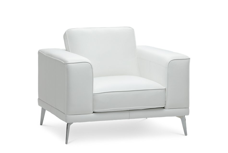 Naples WHITE LEATHER Chair With Metal Legs | Living Room ...