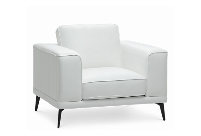 Naples White Leather Chair With Black Legs