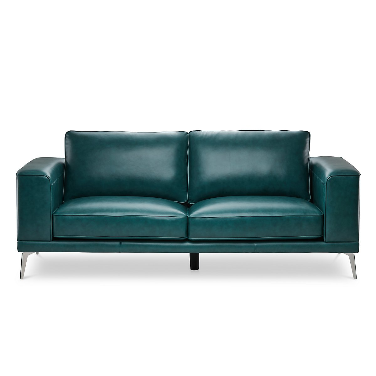 Naples Turquoise Leather Sofa With Metal Legs Living