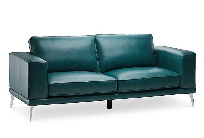 Naples Turquoise Leather Sofa With Metal Legs