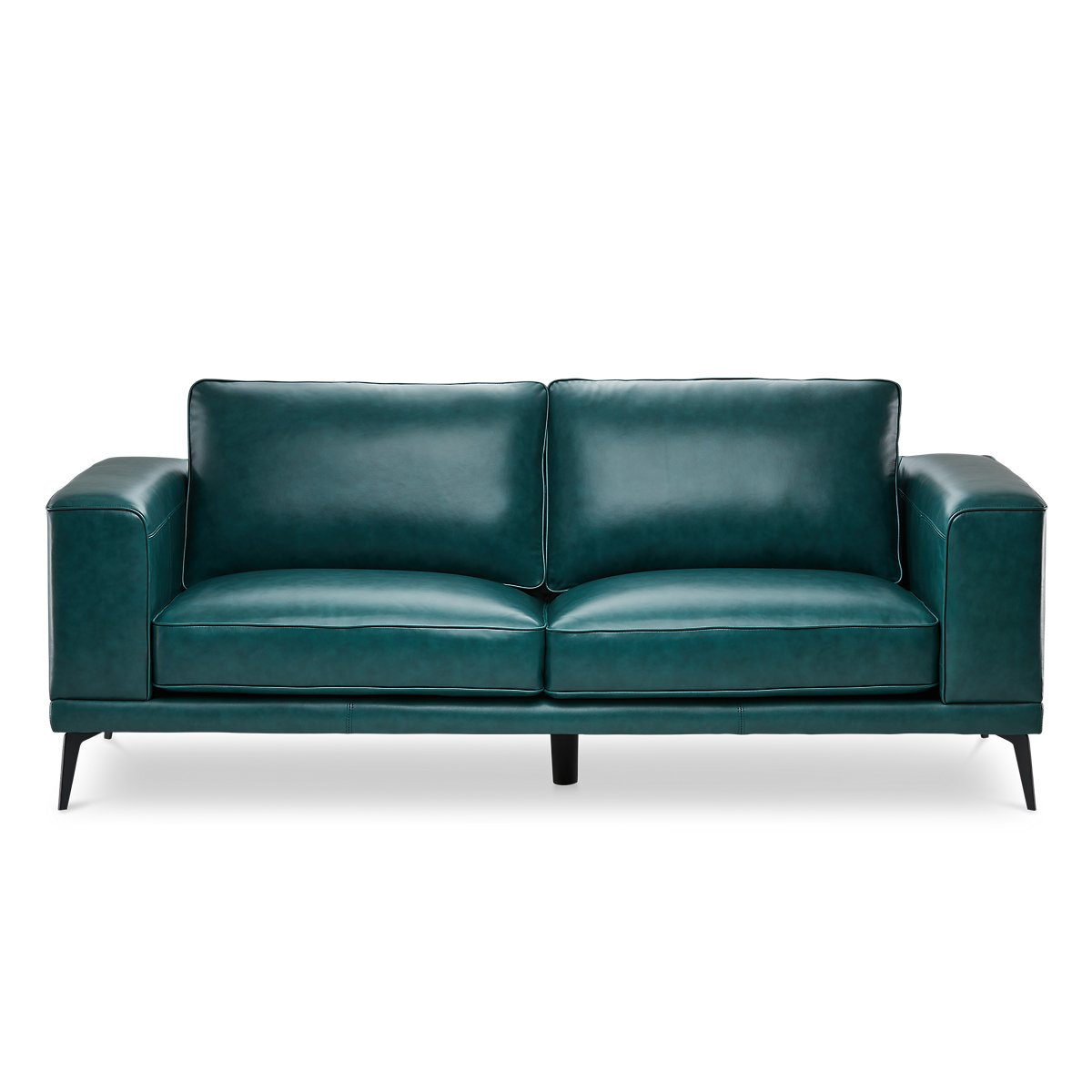 naples turquoise leather sofa with black legs  living