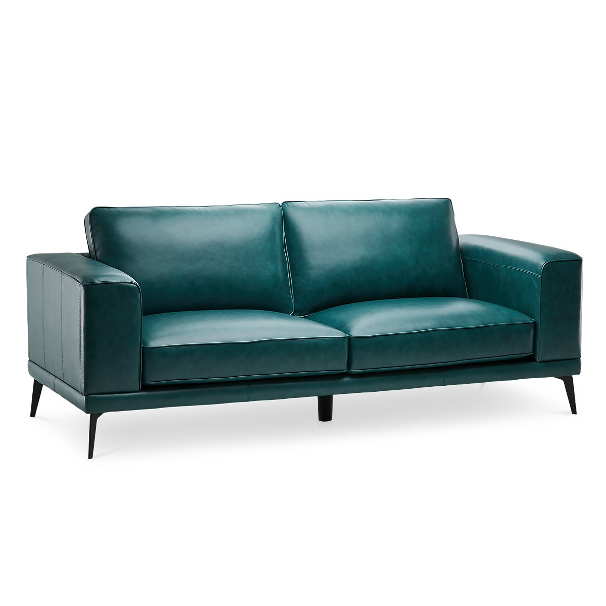 Naples Turquoise Leather Sofa With Black Legs