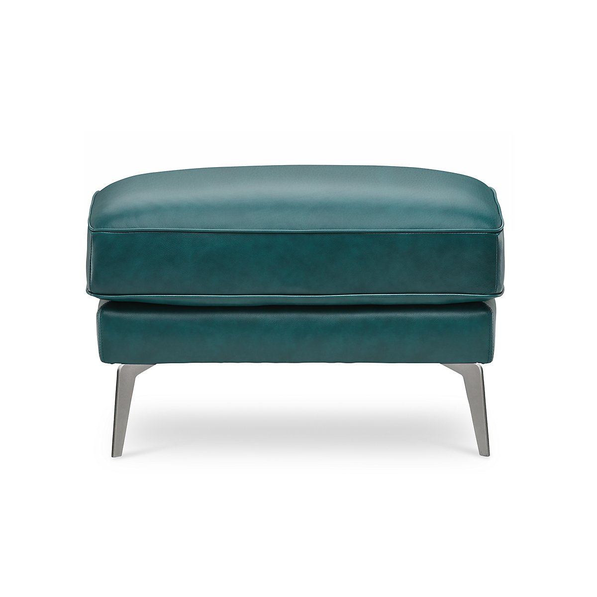 Naples Turquoise Leather Ottoman With Metal Legs