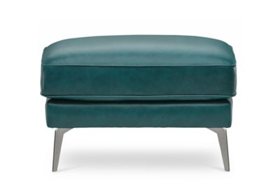 Attrayant Naples Turquoise Leather Ottoman With Metal Legs | Living Room   Ottomans |  City Furniture