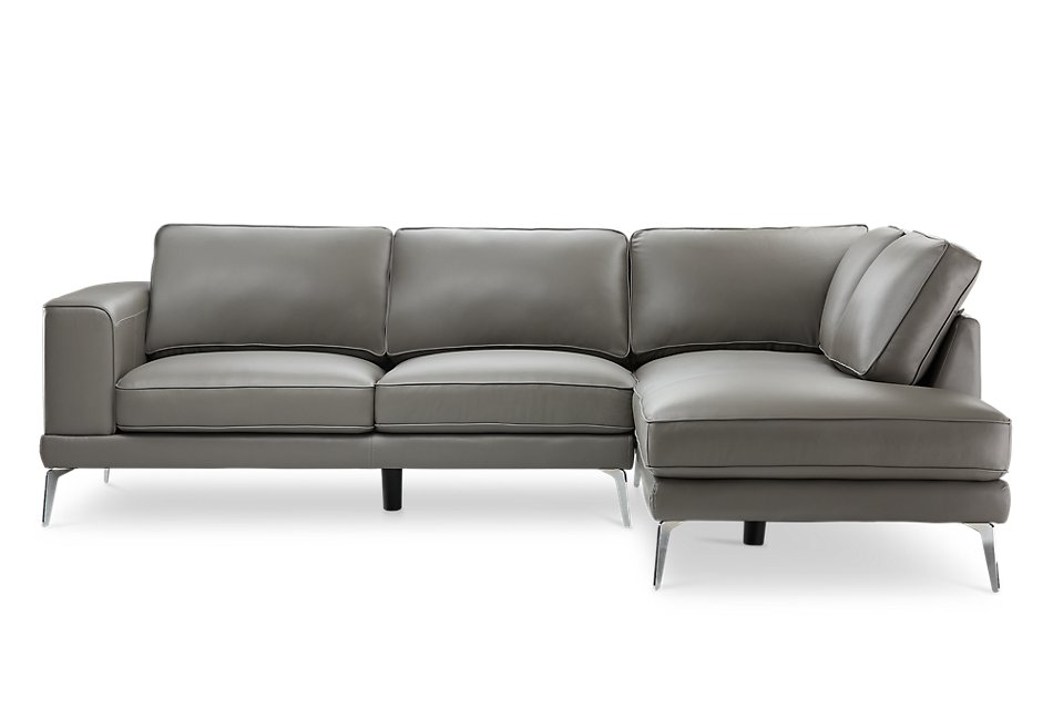 Terrific Naples Gray Leather Right Chaise Sectional With Metal Legs Dailytribune Chair Design For Home Dailytribuneorg