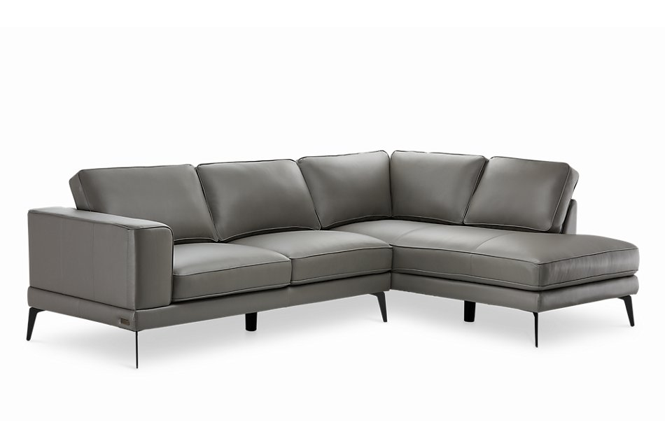 Naples GRAY LEATHER Right Chaise Sectional With Black Legs ...