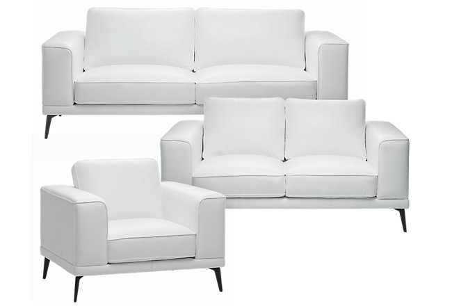Naples White Leather Living Room With Black Legs