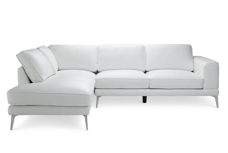 Awesome Naples White Leather Left Chaise Sectional With Metal Legs Dailytribune Chair Design For Home Dailytribuneorg