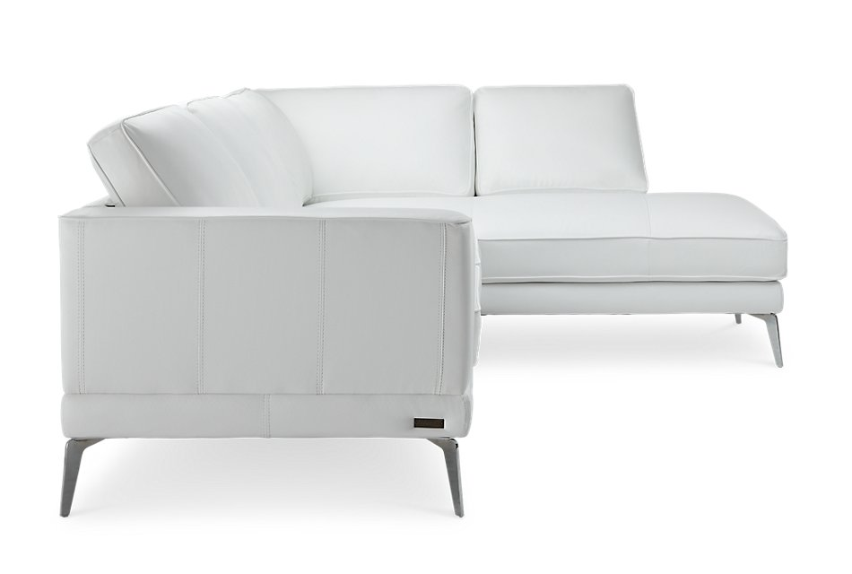 Naples White Leather Right Chaise Sectional With Metal Legs