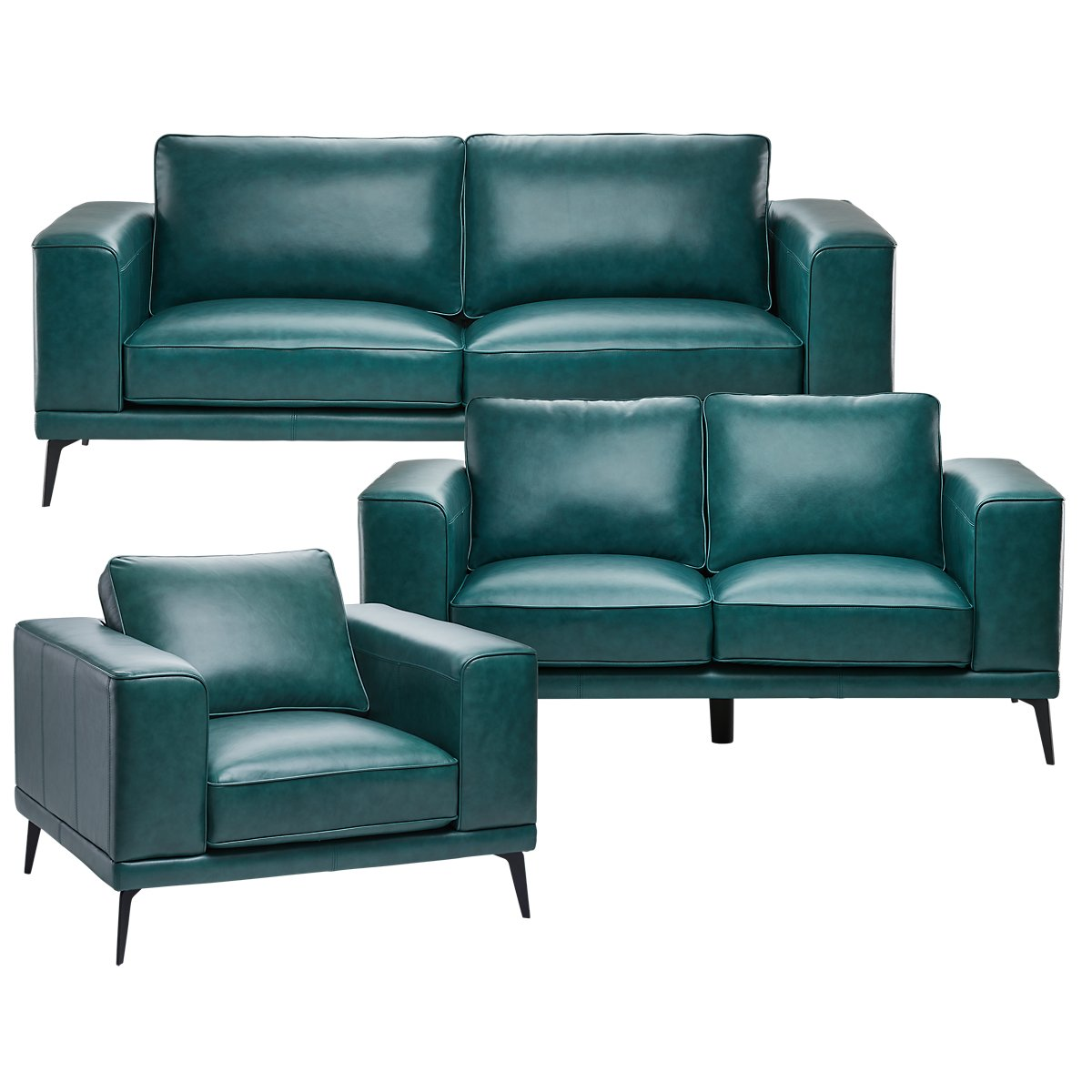 Naples Turquoise Leather Living Room With Black Legs