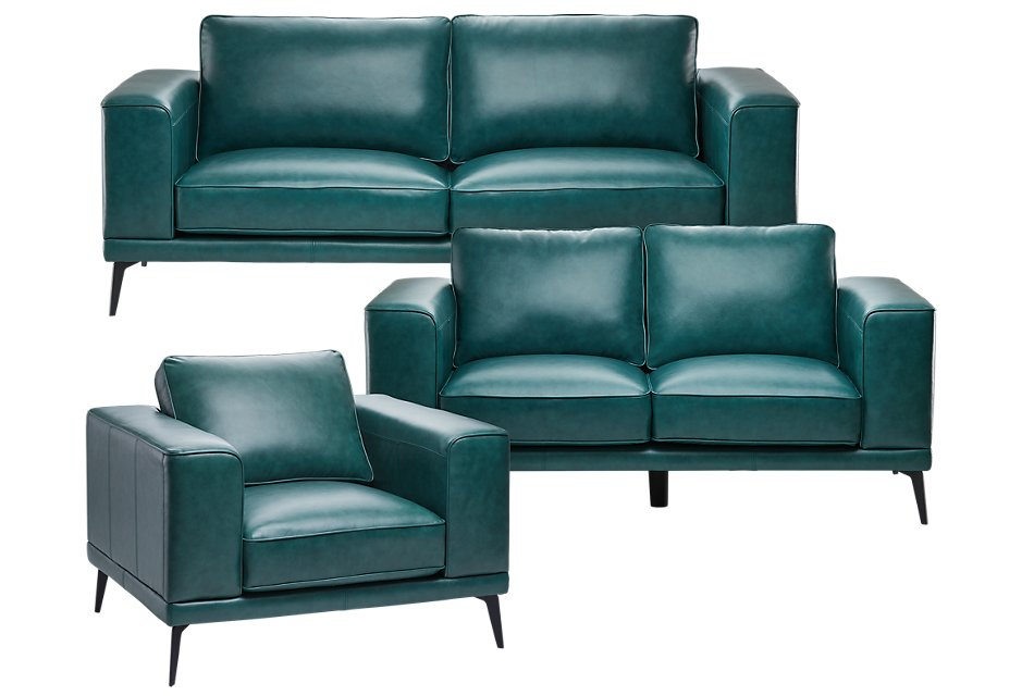 Naples Turquoise Leather Living Room