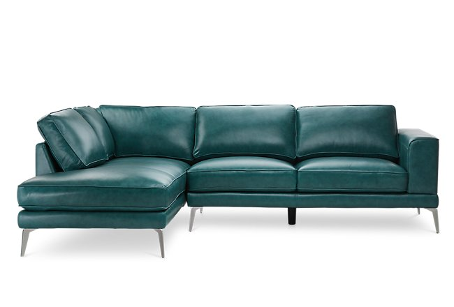 Naples Turquoise Leather Left Chaise Sectional With Metal Legs ...
