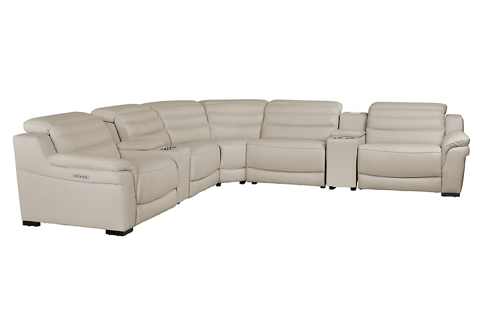 Sentinel TAUPE LTHR/VINYL Large Triple Power Reclining Two-Arm Sectional