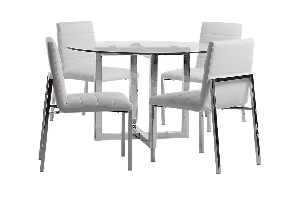 Amalfi WHITE GLASS Round Table & 4 Upholstered Chairs ...