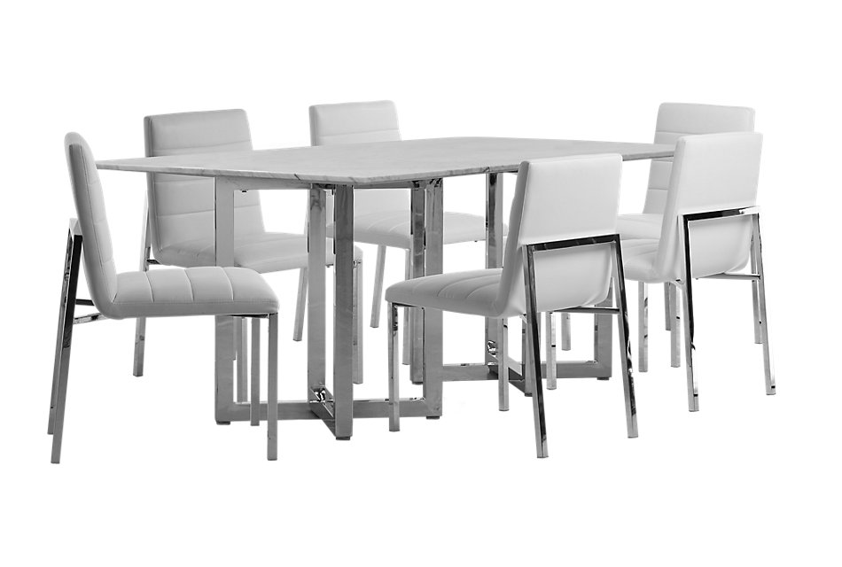 Amalfi WHITE MARBLE Rectangular Table & 4 Upholstered Chairs ...