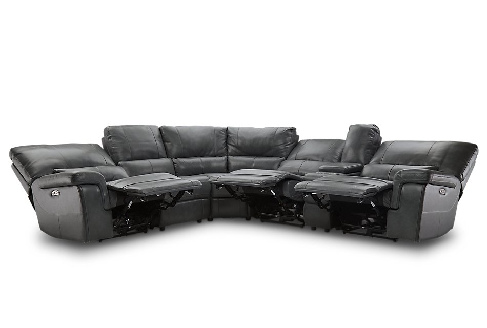 Weston Dark Gray  LTHR/VINYL Small Triple Power Reclining Two-Arm Sectional