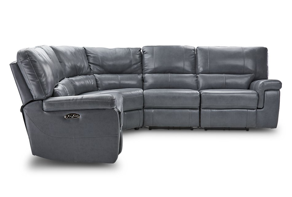 Weston Light Gray  LTHR/VINYL Small Two-Arm Power Reclining Sectional