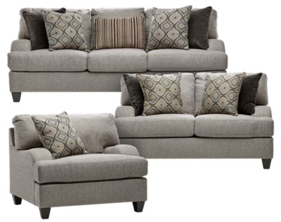 Evelyn Taupe Fabric Living Room